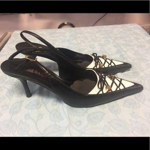 Escada Black & White Leather Pointed Toe Heels 39